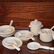 Кукольная еда ручной работы. Ярмарка Мастеров - ручная работа НОВИНКА !! Набор посуды  (16предметов) средний. Handmade.