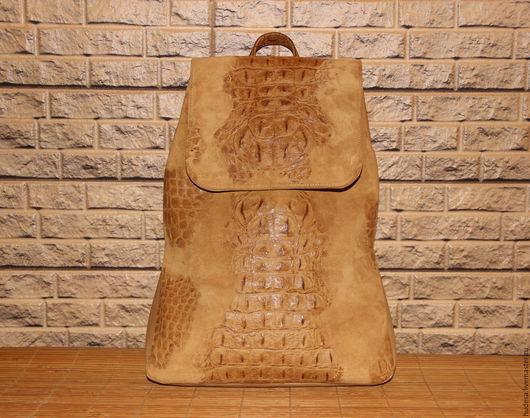 """Рюкзаки ручной работы. Ярмарка Мастеров - ручная работа. Купить Кожаный рюкзак """"Городской"""". Handmade. Бежевый, рюкзак кожаный, подкладка"""
