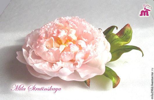 """Броши ручной работы. Ярмарка Мастеров - ручная работа. Купить Брошь пион розовый   из шелка """"Нежность"""". Handmade. Бледно-розовый"""
