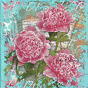 Материалы для творчества handmade. Livemaster - original item Napkins for decoupage carnations with letter flowers. Handmade.