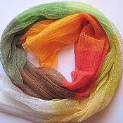 Аксессуары ручной работы. Ярмарка Мастеров - ручная работа Шарф льняной многоцветный (72см x 200см). Handmade.