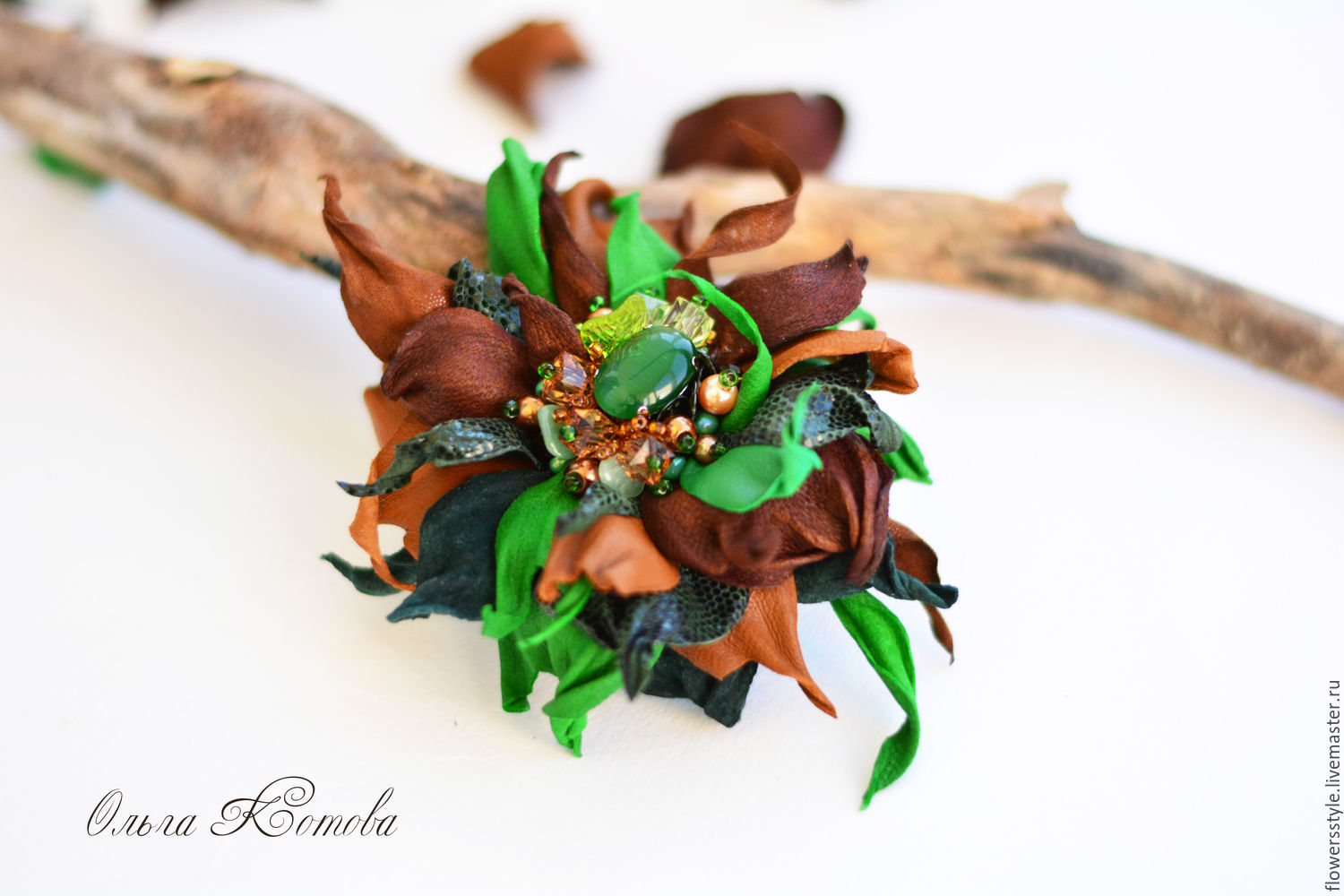 Brooch leather Forest green chocolate emerald tale, Brooches, Kursk,  Фото №1