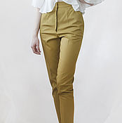 Одежда handmade. Livemaster - original item Slim, cropped pants light mustard color. Handmade.