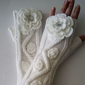 Аксессуары handmade. Livemaster - original item Fingerless gloves long-stem Roses. Handmade.