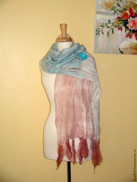 Шали, палантины ручной работы. Ярмарка Мастеров - ручная работа. Купить Альпака валяная паутинка пастельные бежевый, белый,розовый бирюзов. Handmade.
