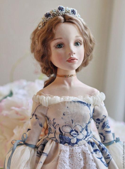 Коллекционные куклы ручной работы. Ярмарка Мастеров - ручная работа. Купить Вера. Handmade. Голубой, Будуарная кукла, подарок на новый год
