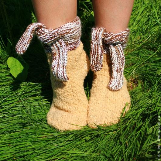 Носки, Чулки ручной работы. Ярмарка Мастеров - ручная работа. Купить Носки женские. Handmade. Бежевый, носки вязаные