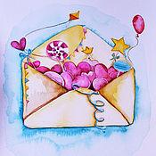 Картины и панно handmade. Livemaster - original item Watercolor paint `You`ve got a mail`. Handmade.