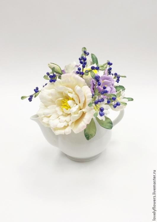 Цветы ручной работы. Ярмарка Мастеров - ручная работа. Купить Цветы в чайнике из полимерной глины. Handmade. Бледно-розовый