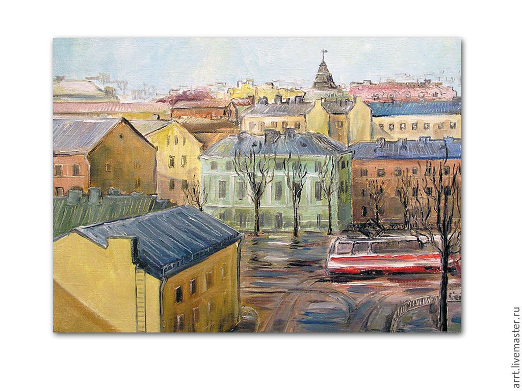 Spring and the Tram on the Petrograd side Print copyright, Pictures, St. Petersburg,  Фото №1