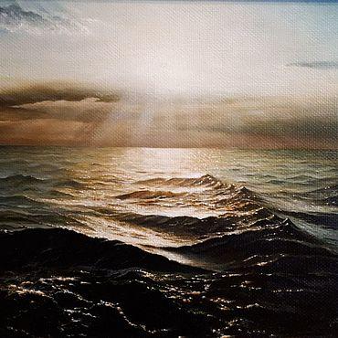 Картины и панно ручной работы. Ярмарка Мастеров - ручная работа Авторская картина Сверкающее Черное море. Handmade.