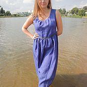 "Одежда handmade. Livemaster - original item Blue summer linen dress ""Peasant girl"". Handmade."