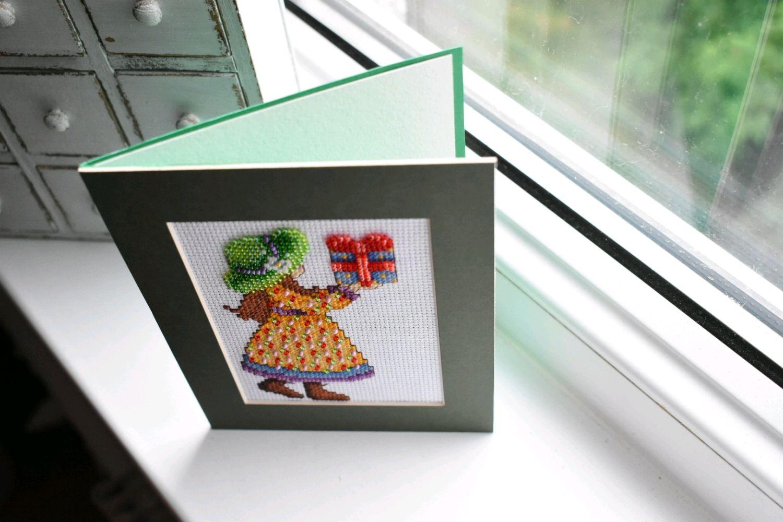 Открытка, открытка вышивка паспарту
