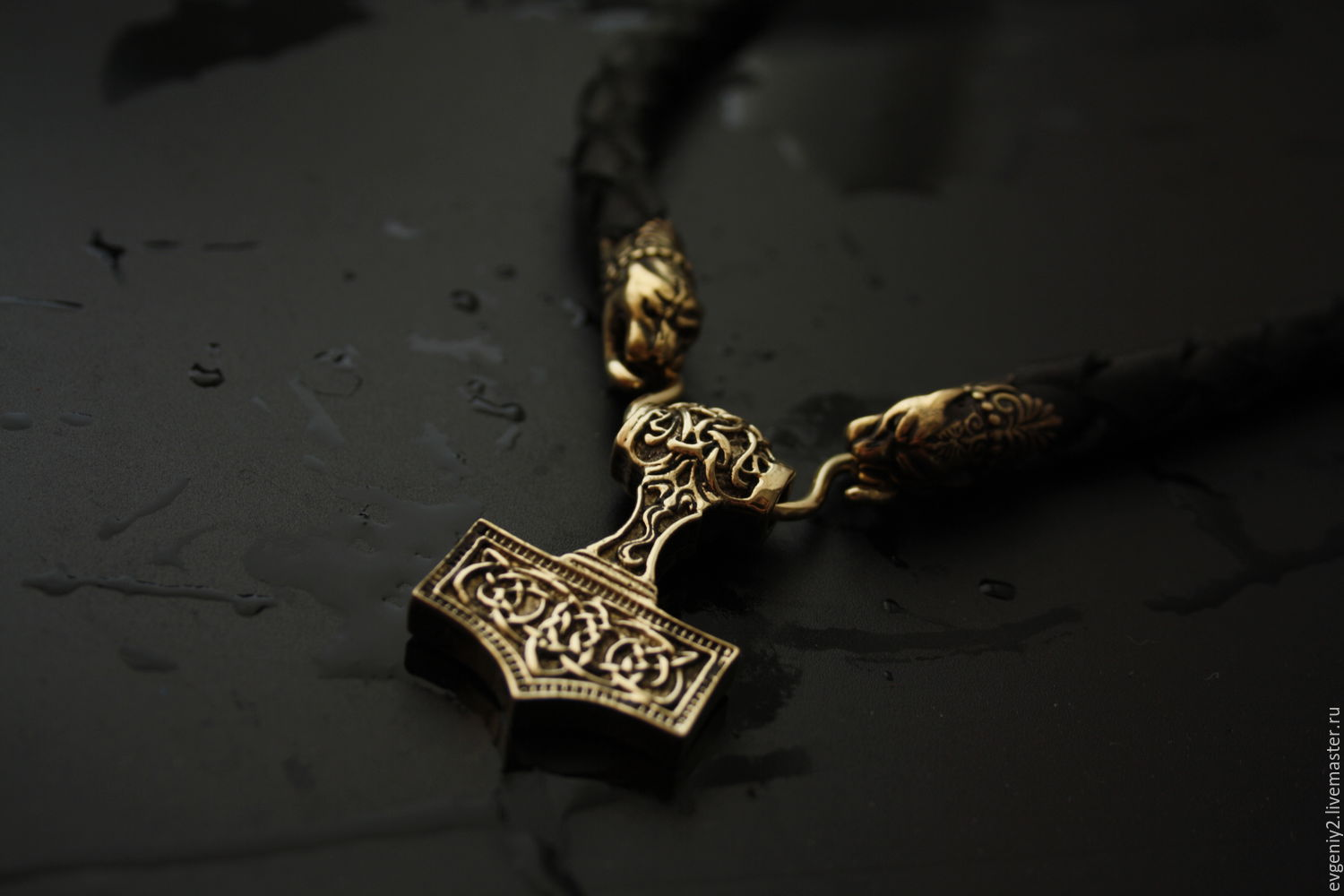 Men's necklace made of genuine leather with the hammer of Thor, Chokers, Volgograd,  Фото №1