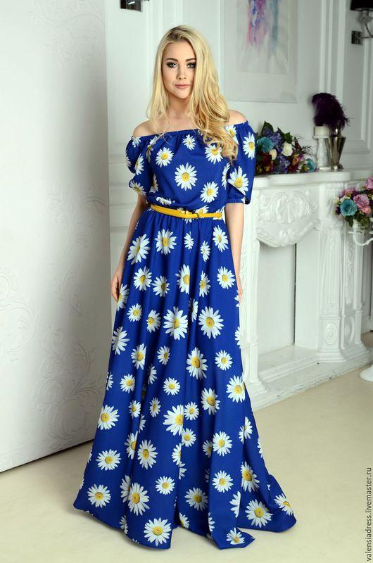 Платье летнее, платье длинное в пол, платье с ромашками