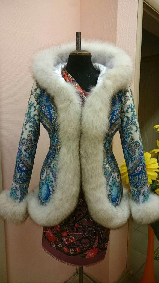 Верхняя одежда ручной работы. Ярмарка Мастеров - ручная работа. Купить Куртка-жилет из платка с мехом вуалевого песца. Handmade.