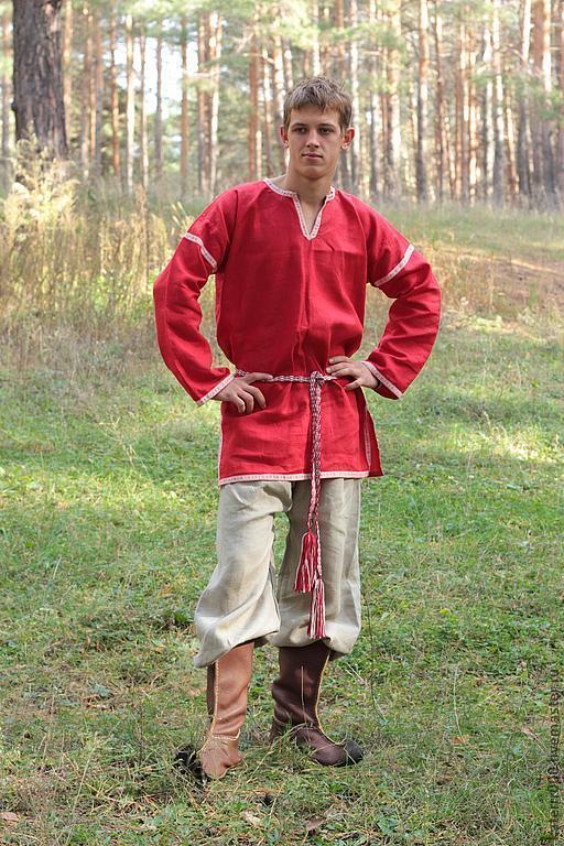 Одежда ручной работы. Ярмарка Мастеров - ручная работа. Купить Рубаха в русском стиле. Handmade. Ярко-красный