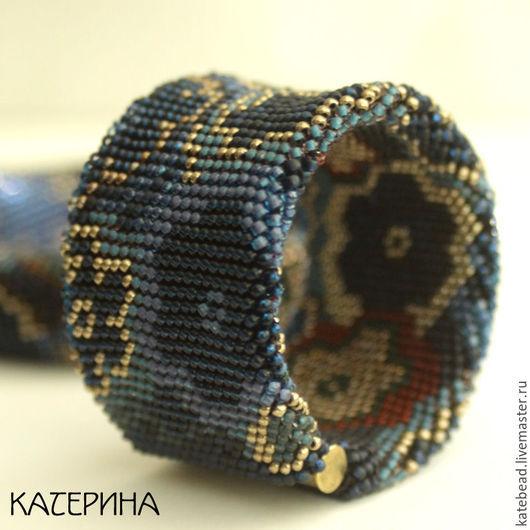 Браслеты ручной работы. Ярмарка Мастеров - ручная работа. Купить браслет «Темные цветы»,  широкий браслет, браслет из бисера. Handmade.