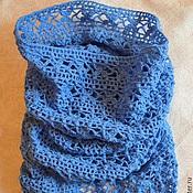 Аксессуары handmade. Livemaster - original item Blue Snood, tube, cowl, white, gray. Handmade.