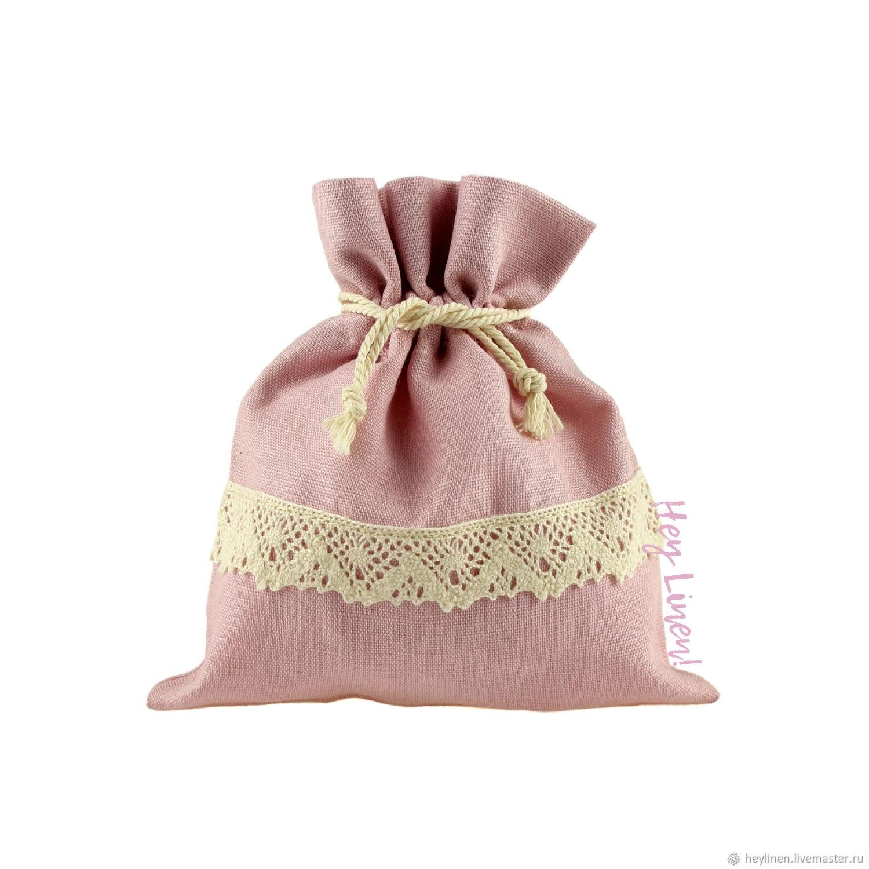 13h15cm. Linen bag with cotton lace, dusty rose, Packaging, Krasnoyarsk,  Фото №1