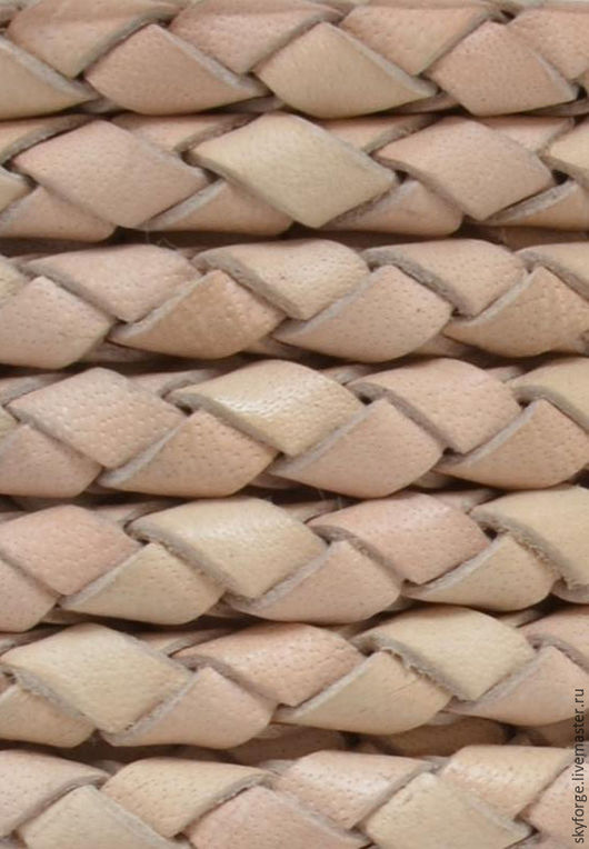 Для украшений ручной работы. Ярмарка Мастеров - ручная работа. Купить Шнур кожаный плетеный, 5 мм, натуральный цвет. Handmade.