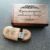 Сувениры и подарки handmade. Livemaster - original item Wooden flash drive with engraving for birthday, gift. Handmade.