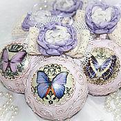 Елочные игрушки ручной работы. Ярмарка Мастеров - ручная работа Елочные шары «Бабочка». Handmade.