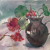 Картины и панно handmade. Livemaster - original item Watercolor. Nasturtiums in a vase. Handmade.