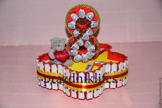 """Персональные подарки ручной работы. Ярмарка Мастеров - ручная работа. Купить Киндер торт """"цветок на 8 марта"""". Handmade."""