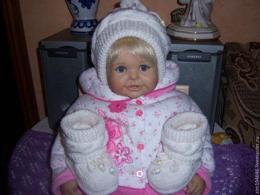 Для новорожденных, ручной работы. Ярмарка Мастеров - ручная работа. Купить Нарядный комплект для малыша ( пинетки и шапочка). Handmade.