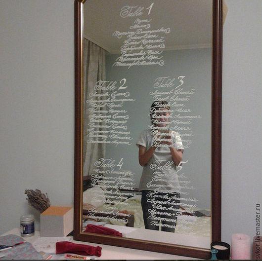 Свадебные аксессуары ручной работы. Ярмарка Мастеров - ручная работа. Купить рассадка на зеркале, стекле или доске. Handmade. Белый