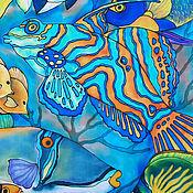 Картины и панно ручной работы. Ярмарка Мастеров - ручная работа Картина батик панно Коралловые рыбки. Картина на шелке. Бирюзовый.. Handmade.