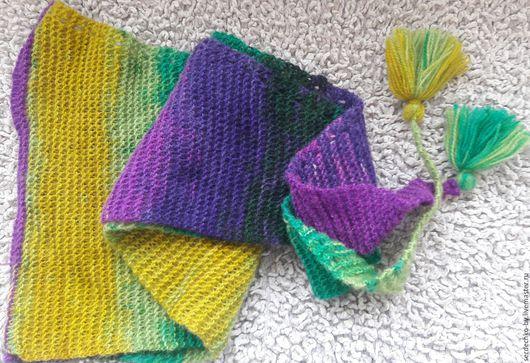 Шарфы и шарфики ручной работы. Ярмарка Мастеров - ручная работа. Купить Шарф-бактус вязаный спицами Фиолетовый изумруд с горчицей. Handmade.