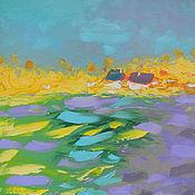 """Картины и панно ручной работы. Ярмарка Мастеров - ручная работа """"Blueberry day"""" 65х65 см большая картина маслом мастихином пейзаж. Handmade."""