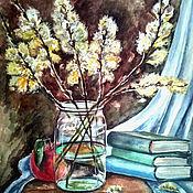 Картины и панно ручной работы. Ярмарка Мастеров - ручная работа Натюрморт с вербой. Handmade.