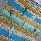"""Для дома и интерьера ручной работы. Ярмарка Мастеров - ручная работа """"Семь рыб в вертикальной воде"""", лоскутное стёганое одеяло.. Handmade."""