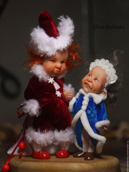 """Коллекционные куклы ручной работы. Ярмарка Мастеров - ручная работа. Купить """"Дед Мороз и Снегурочка"""". Handmade. Ярко-красный"""