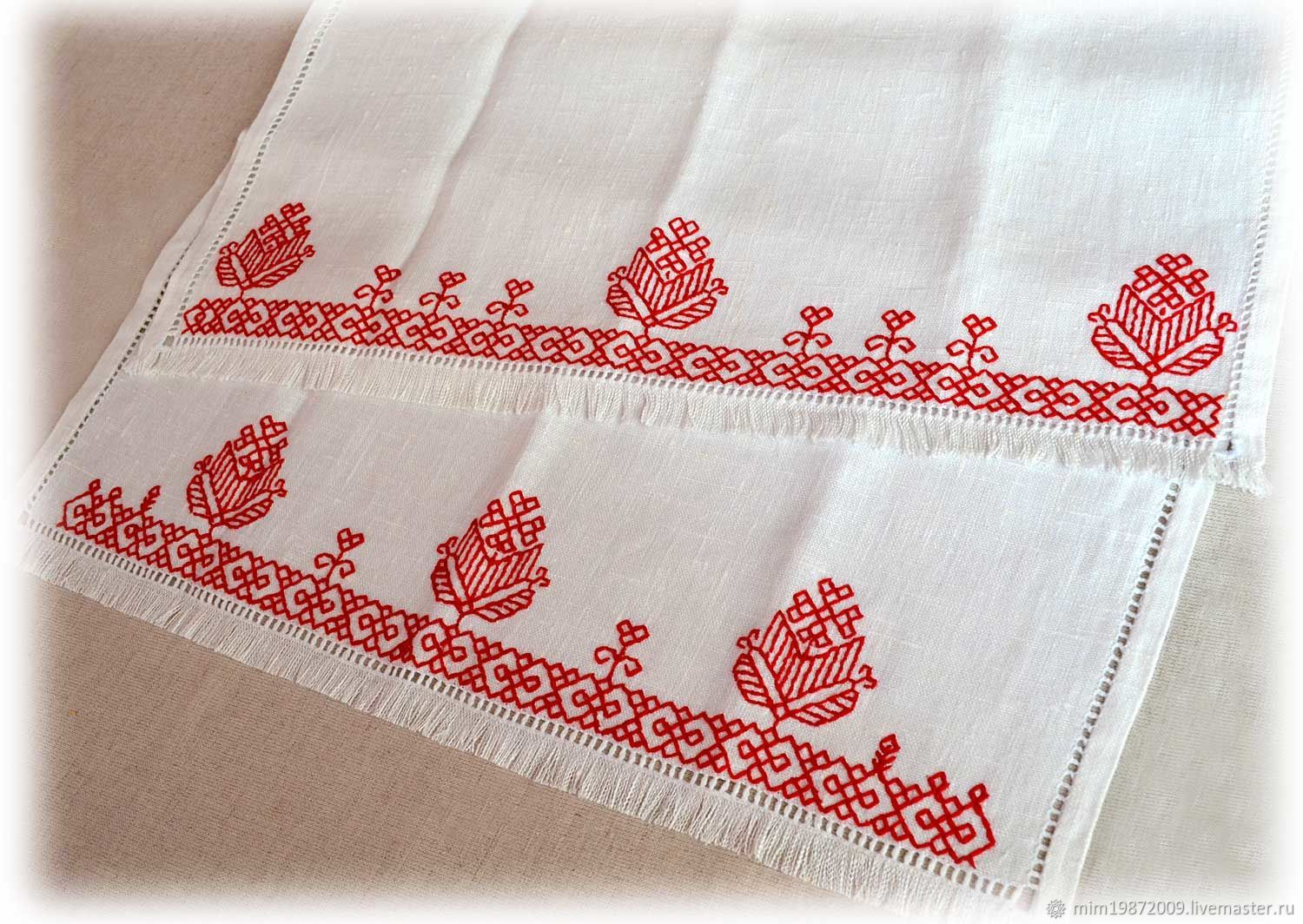 track on the table linen Russian style towel with embroidery white linen red embroidered hemstitch hand embroidered tablecloth napkins