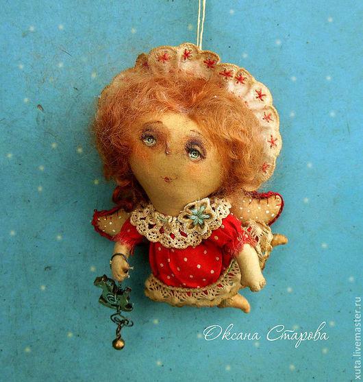 Ароматизированные куклы ручной работы. Ярмарка Мастеров - ручная работа. Купить Ангел на ладони.... Handmade. Ярко-красный, Новый Год