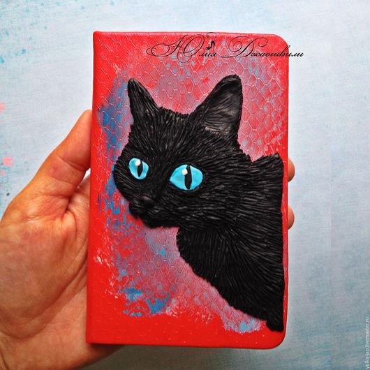 Яркий блокнот, оригинальный блокнот, блокнот ручной работы, изготовление блокнотов, красивый блокнот, блокнот для записей,черный кот, голубые глаза, блокнот купить, купить блокнот, полимерная глина