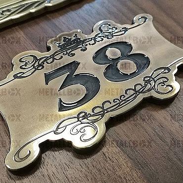 Для дома и интерьера ручной работы. Ярмарка Мастеров - ручная работа Квартирный номер на дверь из бронзы MetallBox. Handmade.
