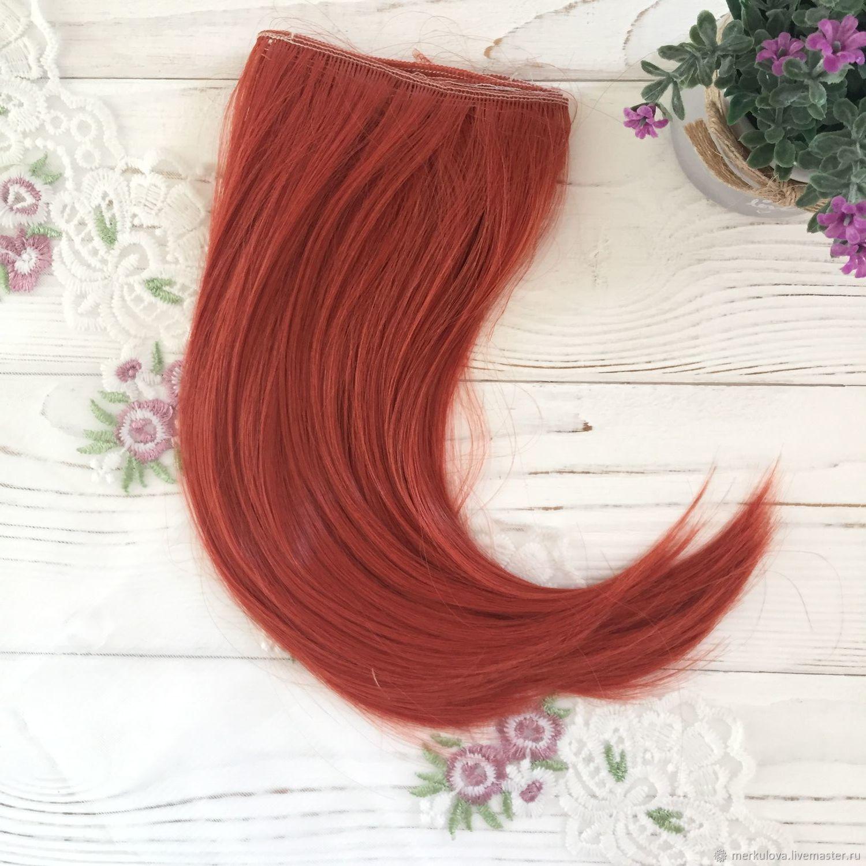 Шитье ручной работы. Ярмарка Мастеров - ручная работа. Купить Волосы прямые с подвитым кончиком каштановый №113 (25см). Handmade.
