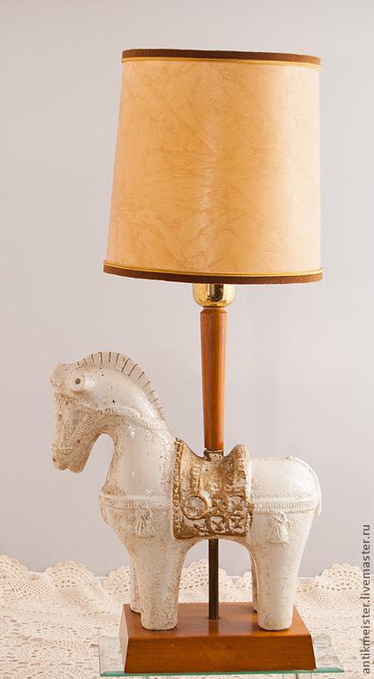 Освещение ручной работы. Ярмарка Мастеров - ручная работа. Купить Настольная лампа конь античный белый единорог далеких лет. Handmade.