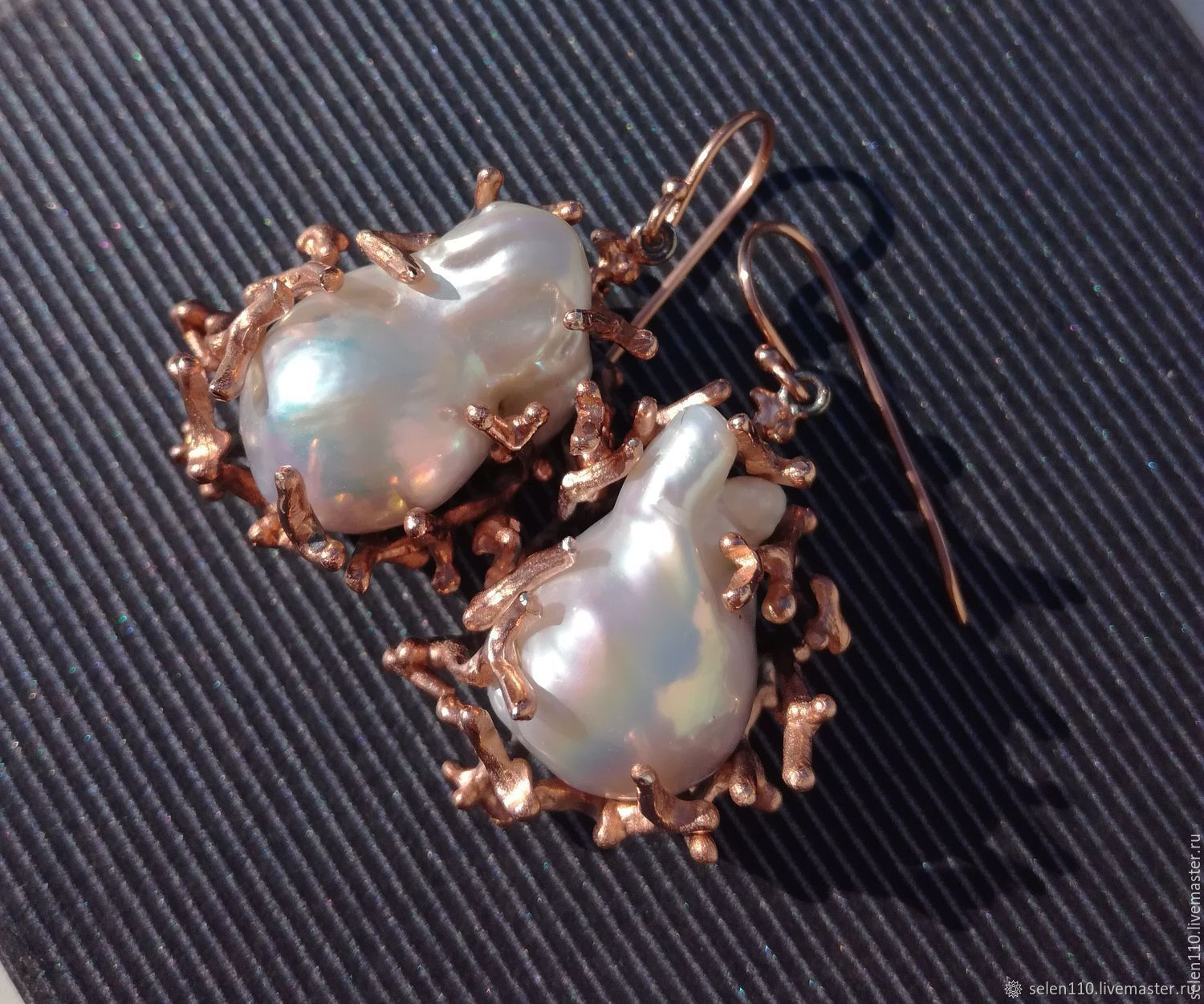 Maldives earrings with large Baroque pearls, Earrings, Voronezh,  Фото №1