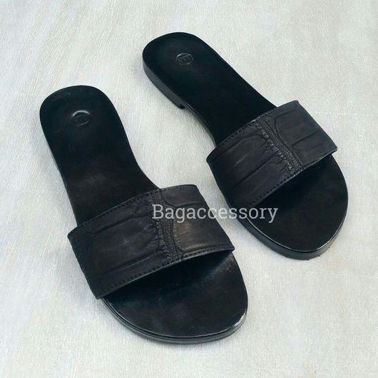 Обувь ручной работы. Ярмарка Мастеров - ручная работа. Купить Шлепанцы из натуральной кожи крокодила. Handmade. Шлепанцы