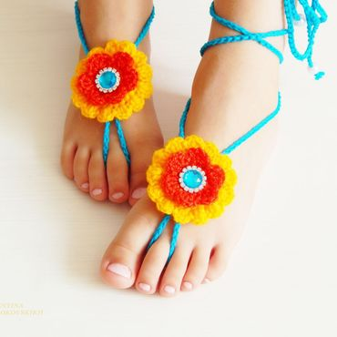 """Работы для детей, ручной работы. Ярмарка Мастеров - ручная работа Украшение на ножки """" Яркое лето """". Handmade."""