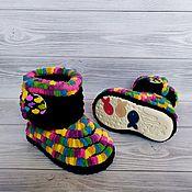 Работы для детей, handmade. Livemaster - original item Plush knitted boots for the street, 12.5 cm on the foot, children`s shoes. Handmade.