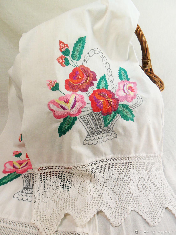 Vintage embroidered towel 50 years, Vintage interior, Bakhmut,  Фото №1