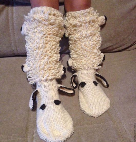 Носки, Чулки ручной работы. Ярмарка Мастеров - ручная работа. Купить Гольфы-овечки. Handmade. Бежевый, овечка, абстрактный