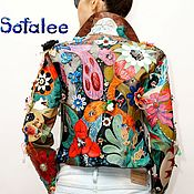 Одежда handmade. Livemaster - original item Multicolor leather jacket with flowers, women`s short jacket. Handmade.